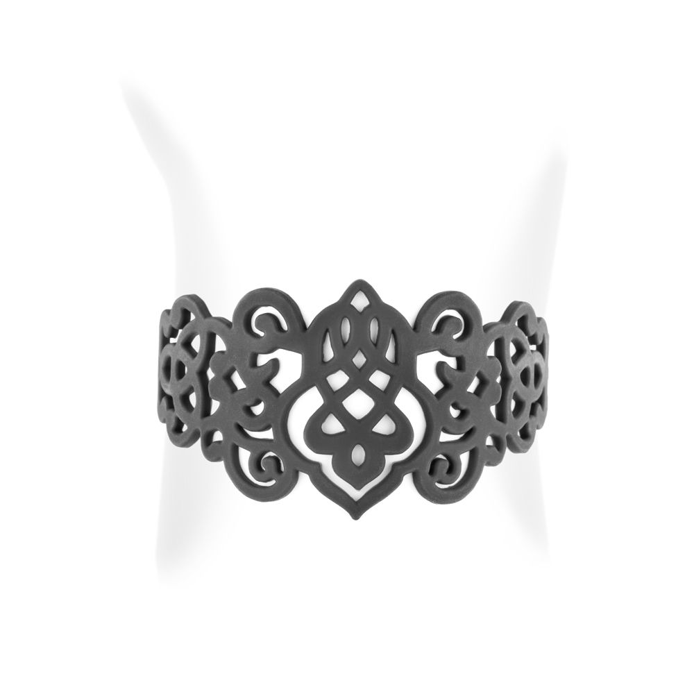 Black Silicone Gum Arabesque Bracelet Effect Tatto