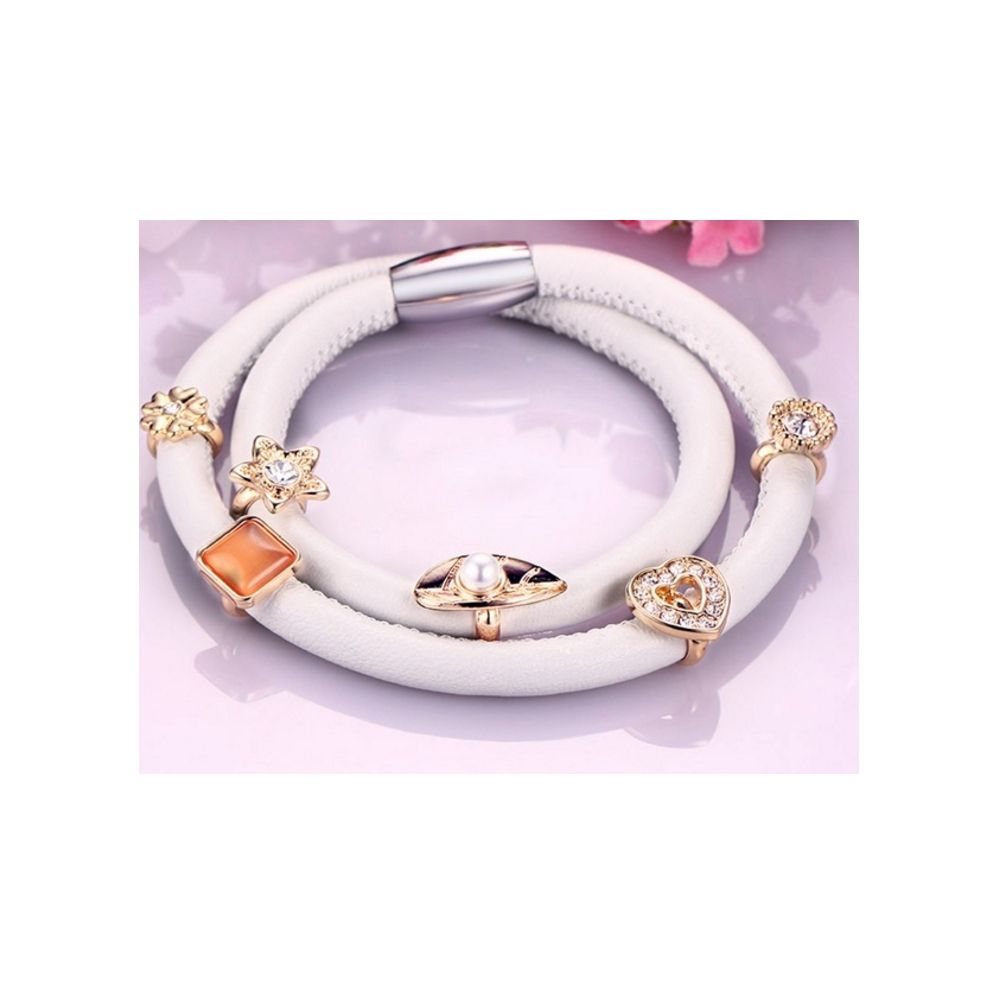 White Leather Charm's Double Row Bracelet and Beads