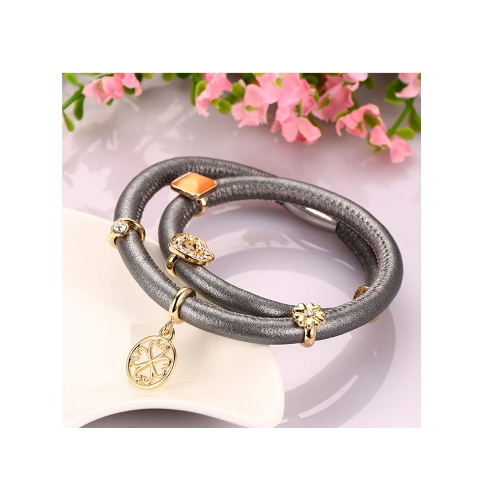Grey Leather Charm's Double Row Bracelet and Beads