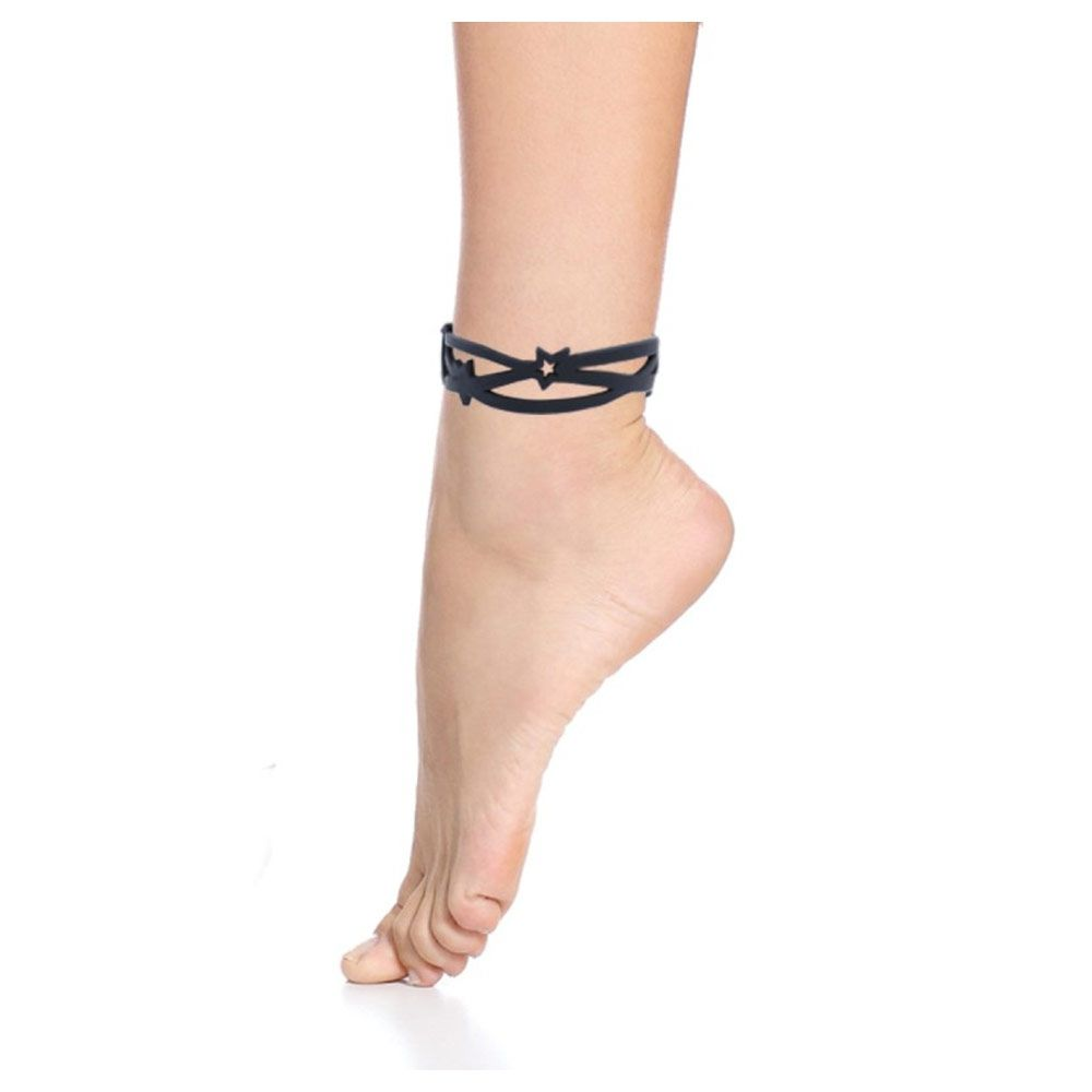 Black Silicone Gum Anklet Jewel Effect Tatto