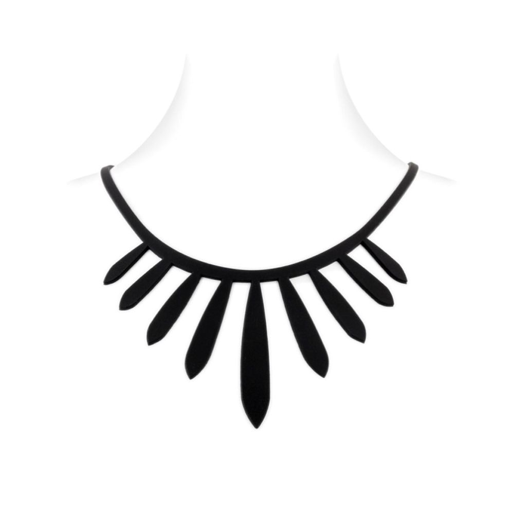 Black Silicone Gum Ethnic Necklace Effect Tatto