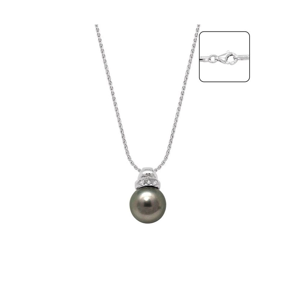 Black Tahiti Pearl, Diamonds Necklace and White Gold 750/1000
