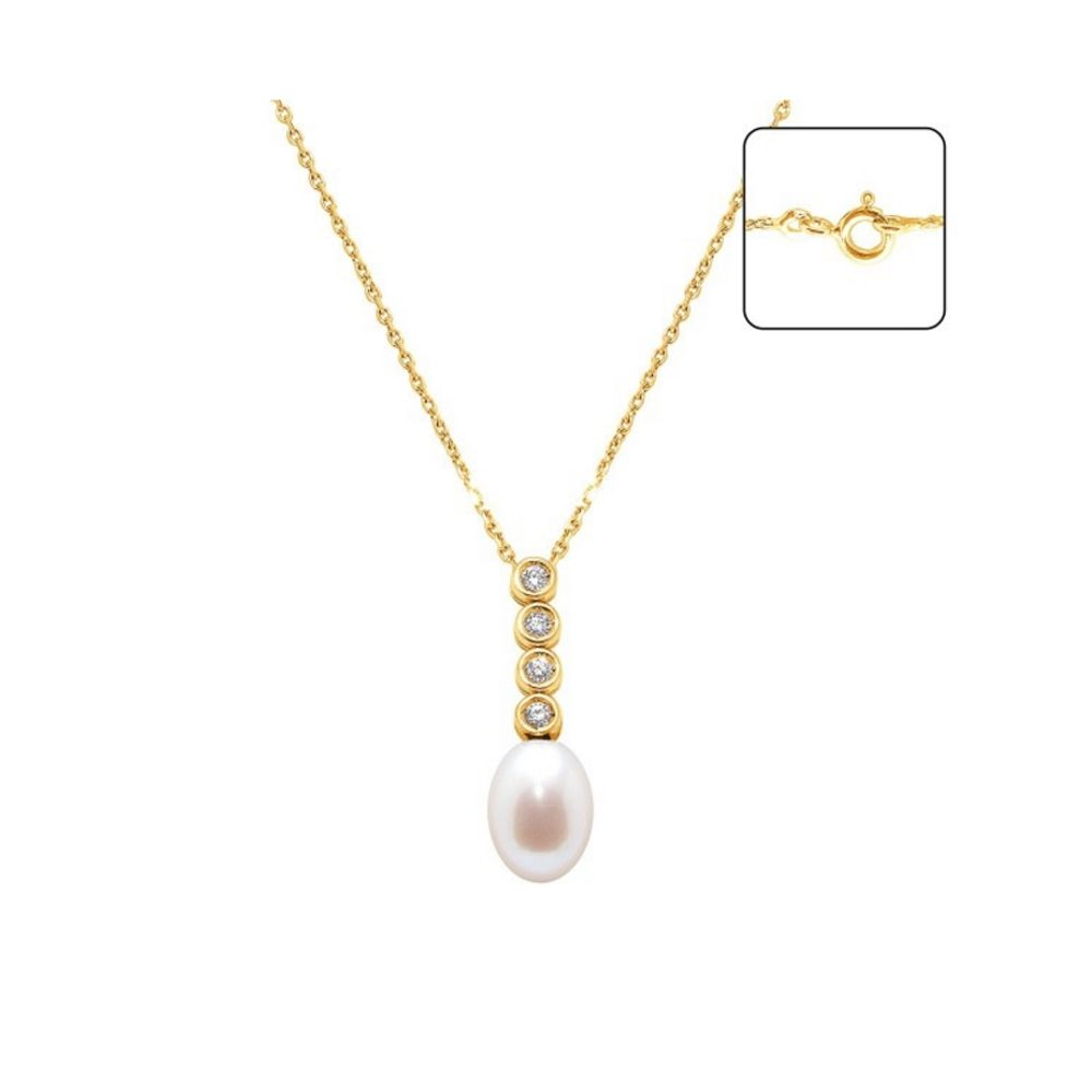 White Freshwater Pearl and Diamonds Pendant and Yellow Gold 750/1000