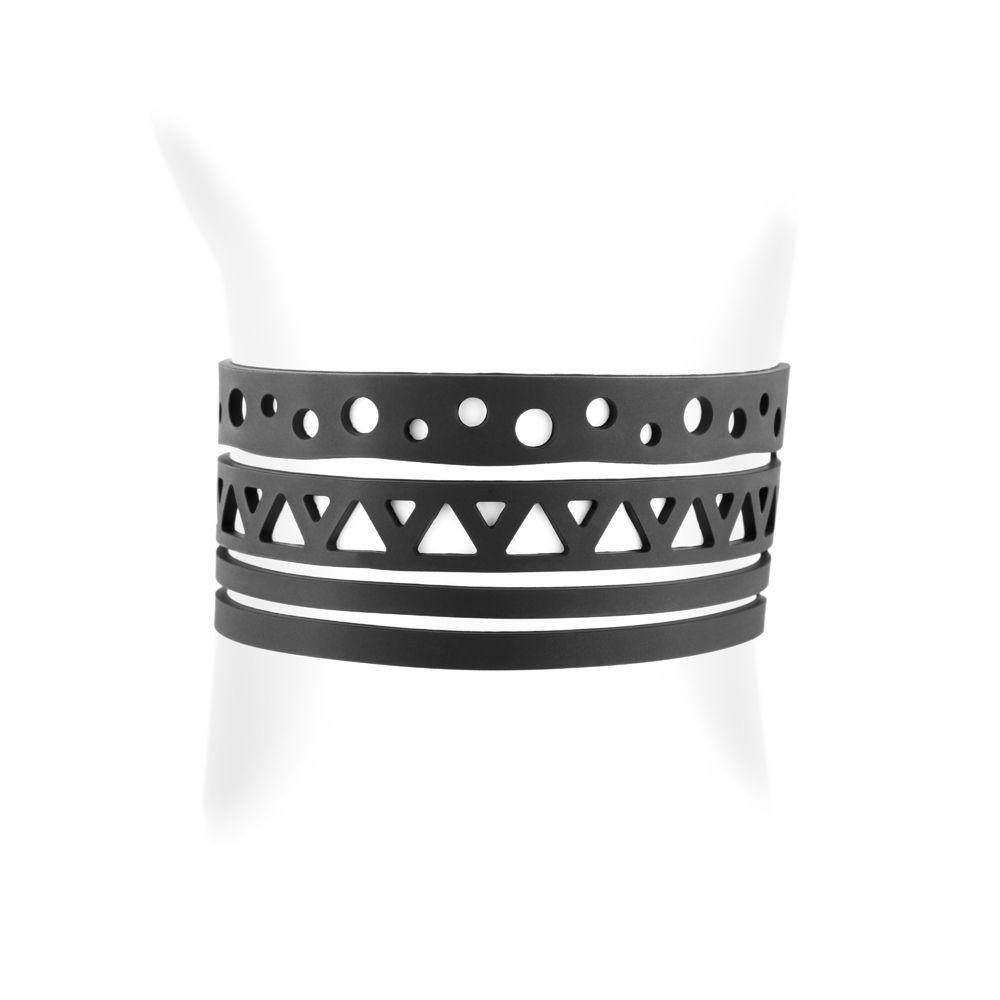 Black Silicone Gum Ethnic Bracelet Effect Tatto