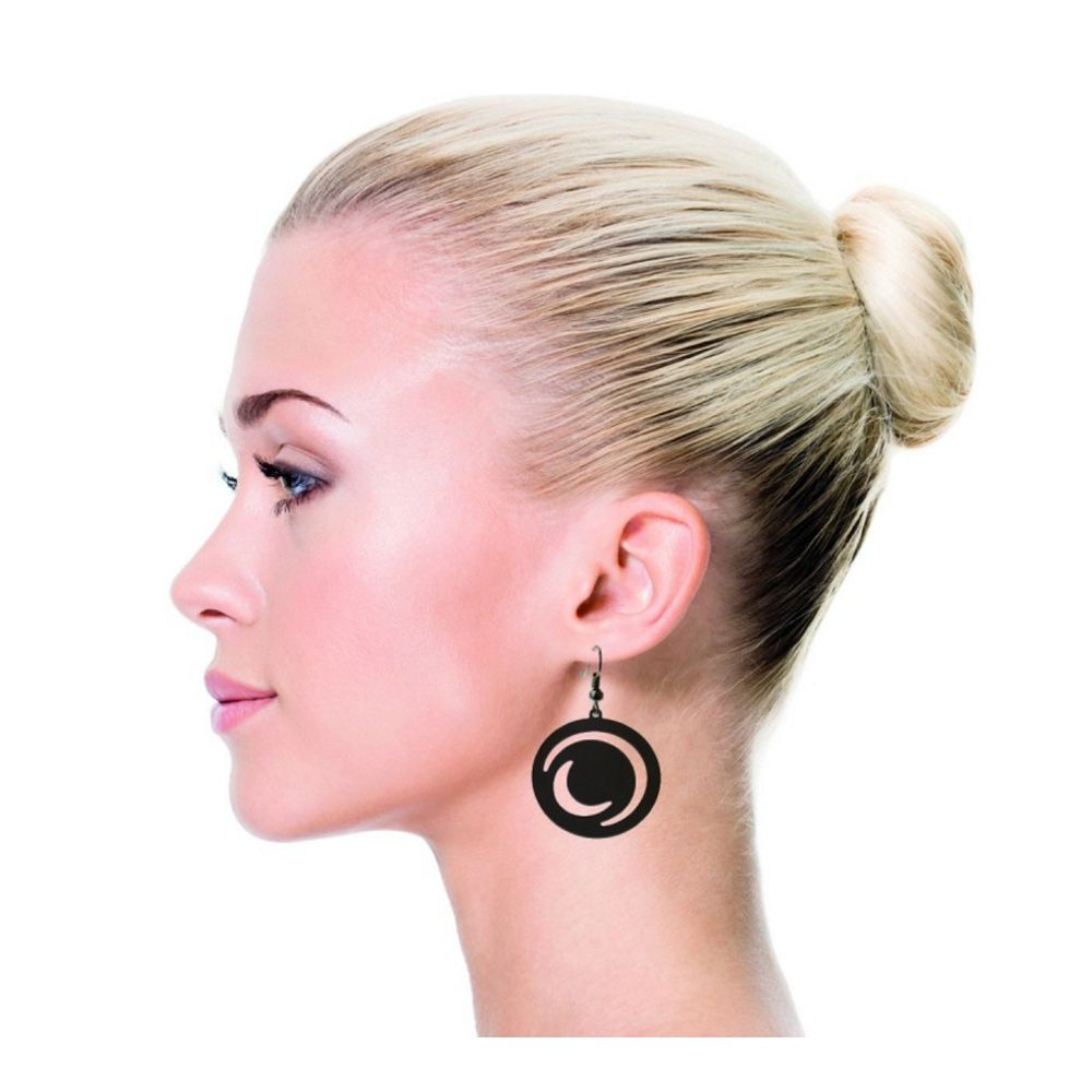 Black Silicone Gum Moonlight Dangling Earrings
