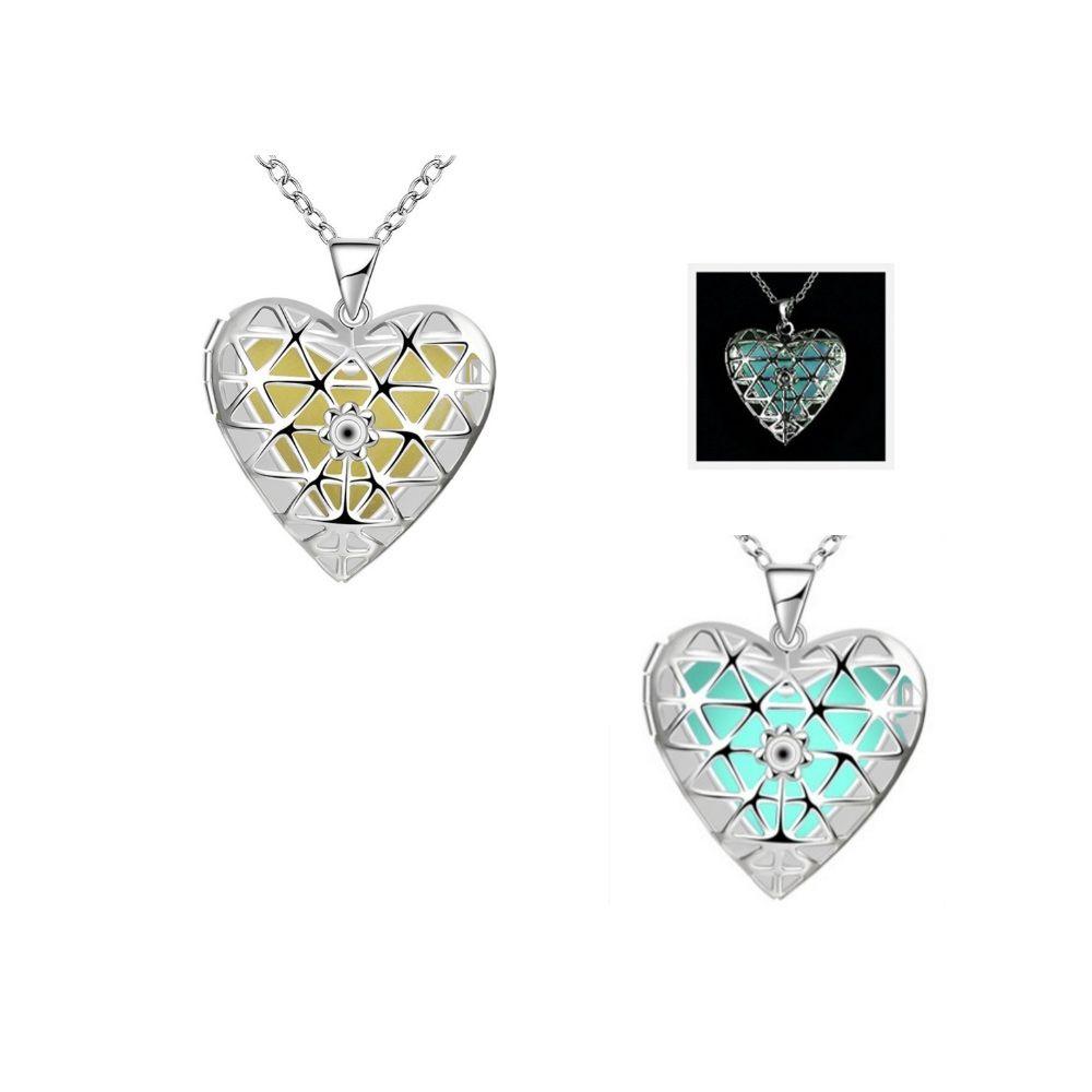 Blue Fluorescent Heart Pendant