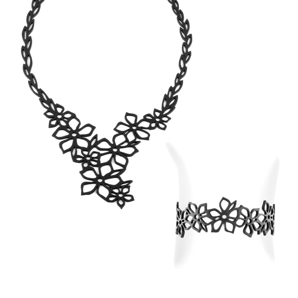 Black Silicone Gum Tiare Flower Necklace and Bracelet Set Effect Tatto