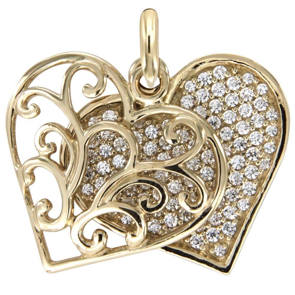 Swarovski - White Swarovski Crystal Elements and 925 Silver and Gold Heart Pendant