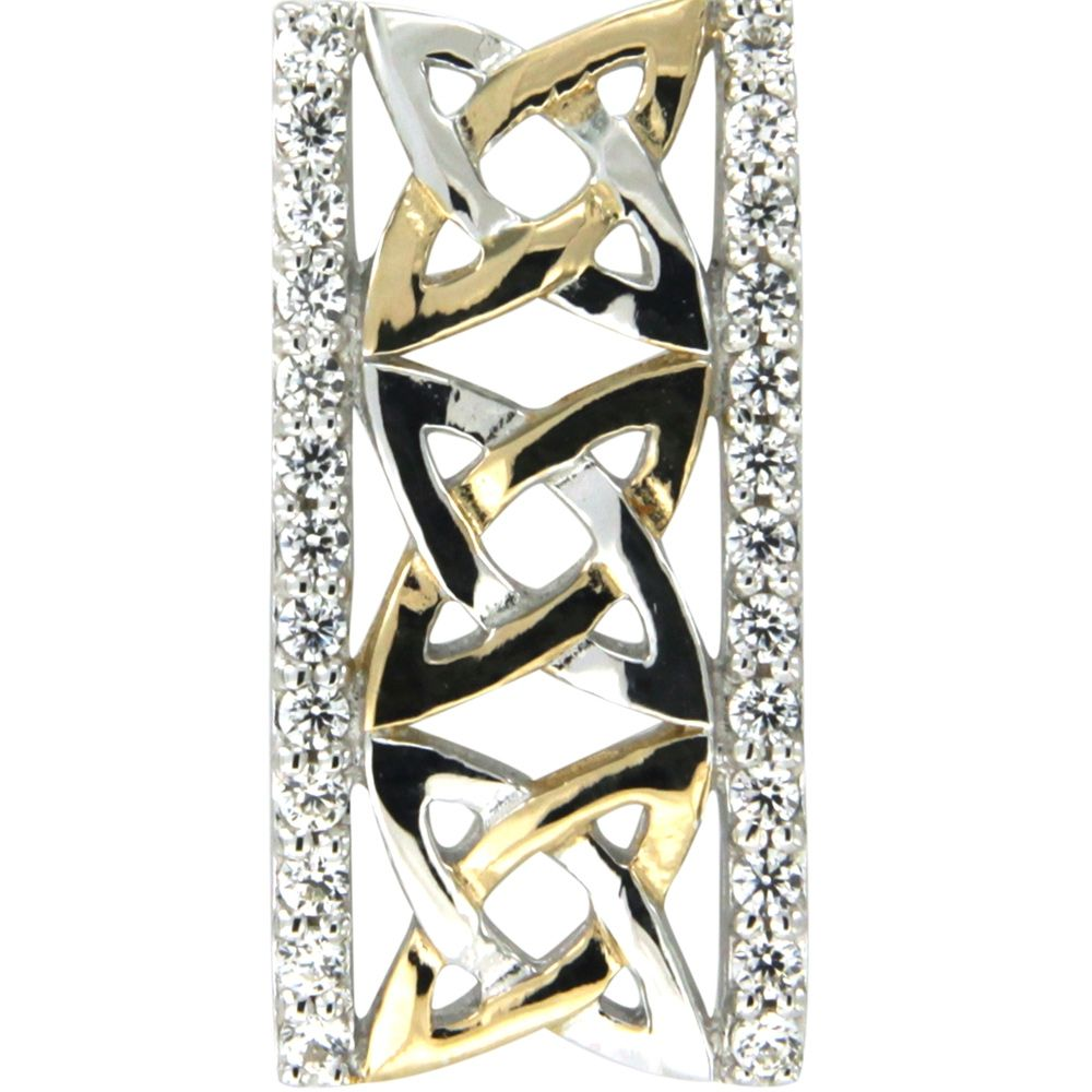 Swarovski - White Swarovski Crystal Elements and 925 Silver and Gold Rectangle Pendant