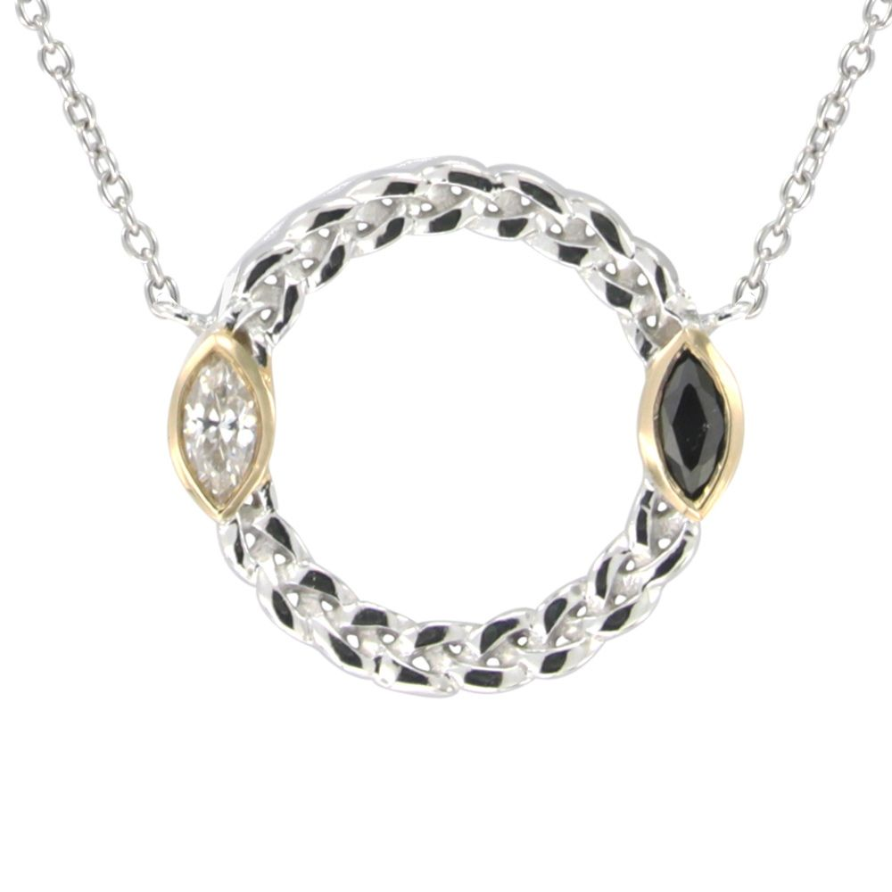 Swarovski - White and Black Swarovski Crystal Elements and 925 Silver circle Necklace