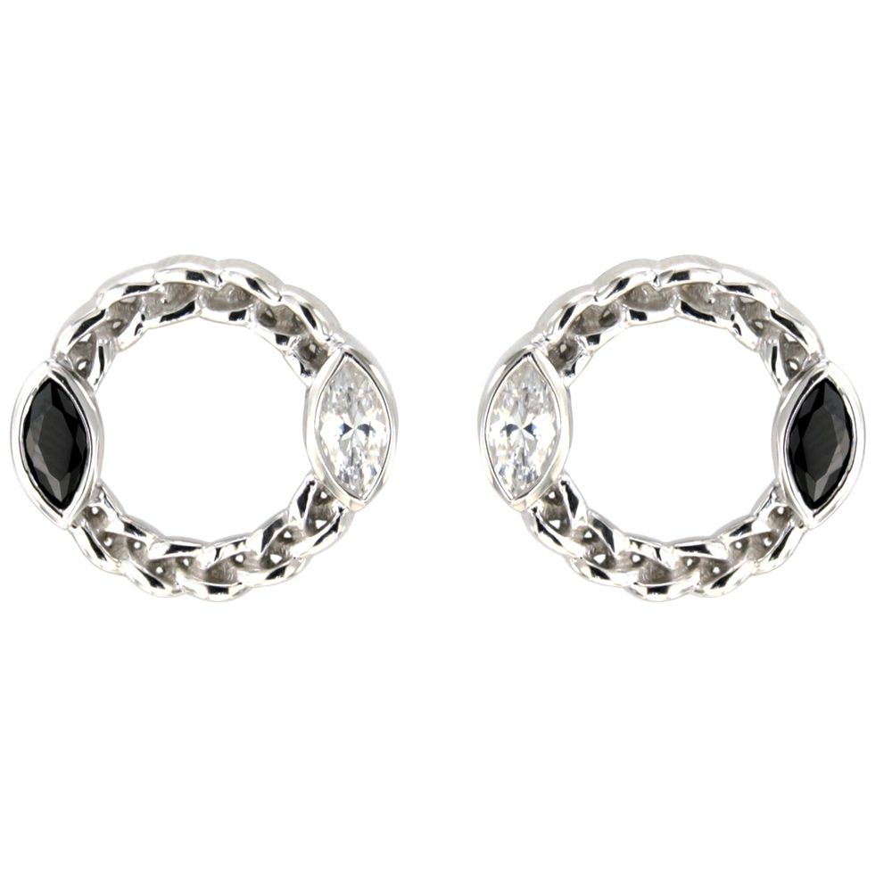 Swarovski - White and Black Swarovski Crystal Elements and 925 Silver circle Earrings