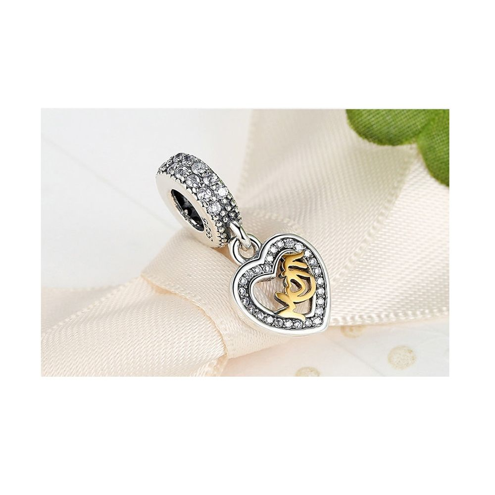 925 Silver Mother Heart Pendant Charms Bead