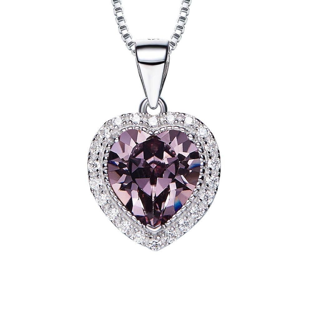 Swarovski - Purple and White Swarovski Crystal Elements Heart Pendant