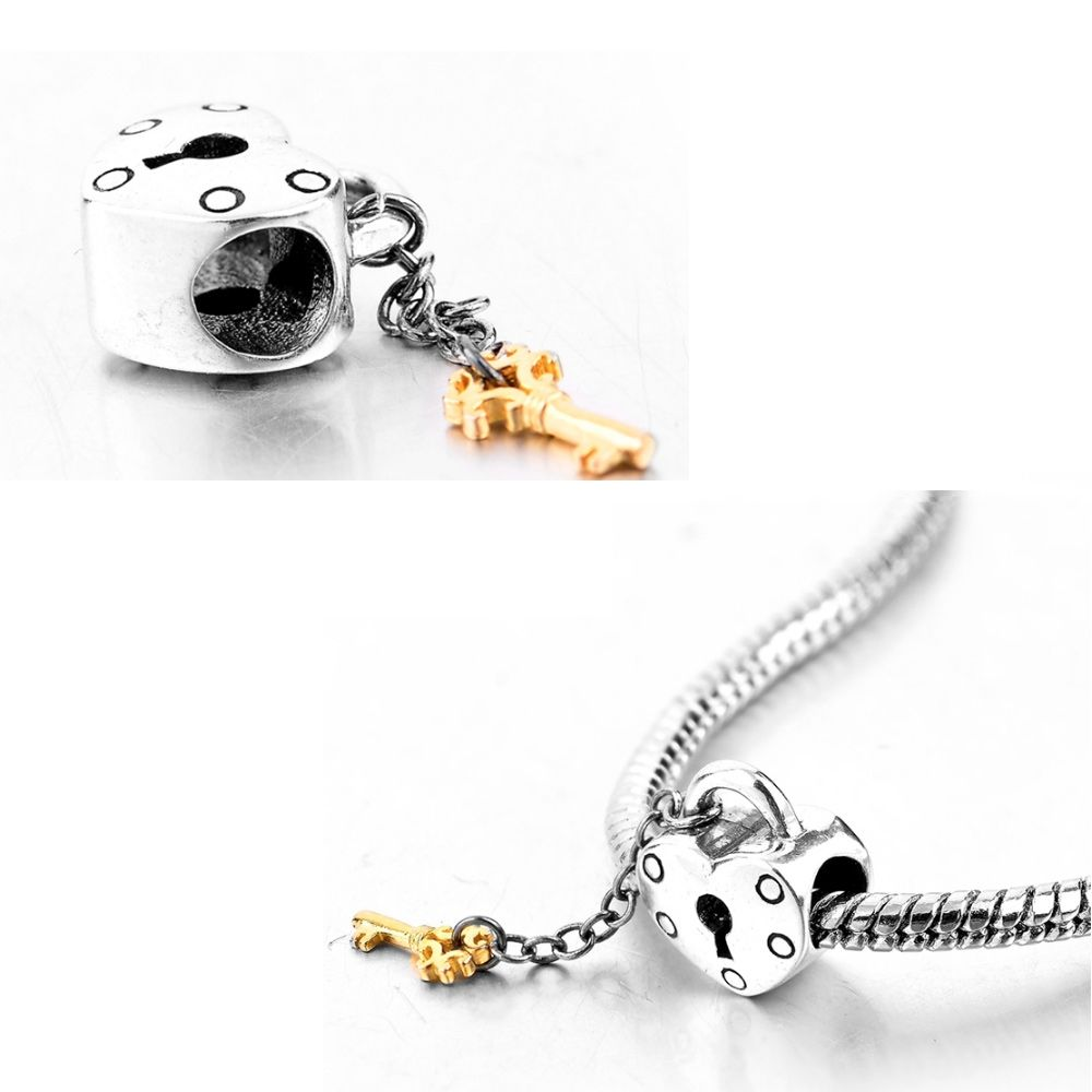 925 silver Heart gold key Charms Beads