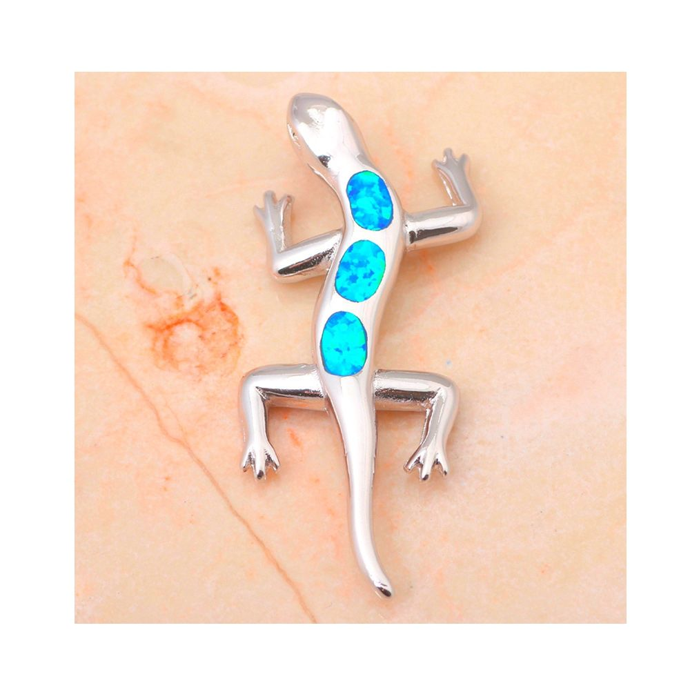 Opal Lizard Pendant and Silver Plated