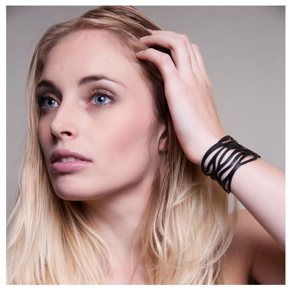 Black Silicone Gum Jungle Bracelet Effect Tatto