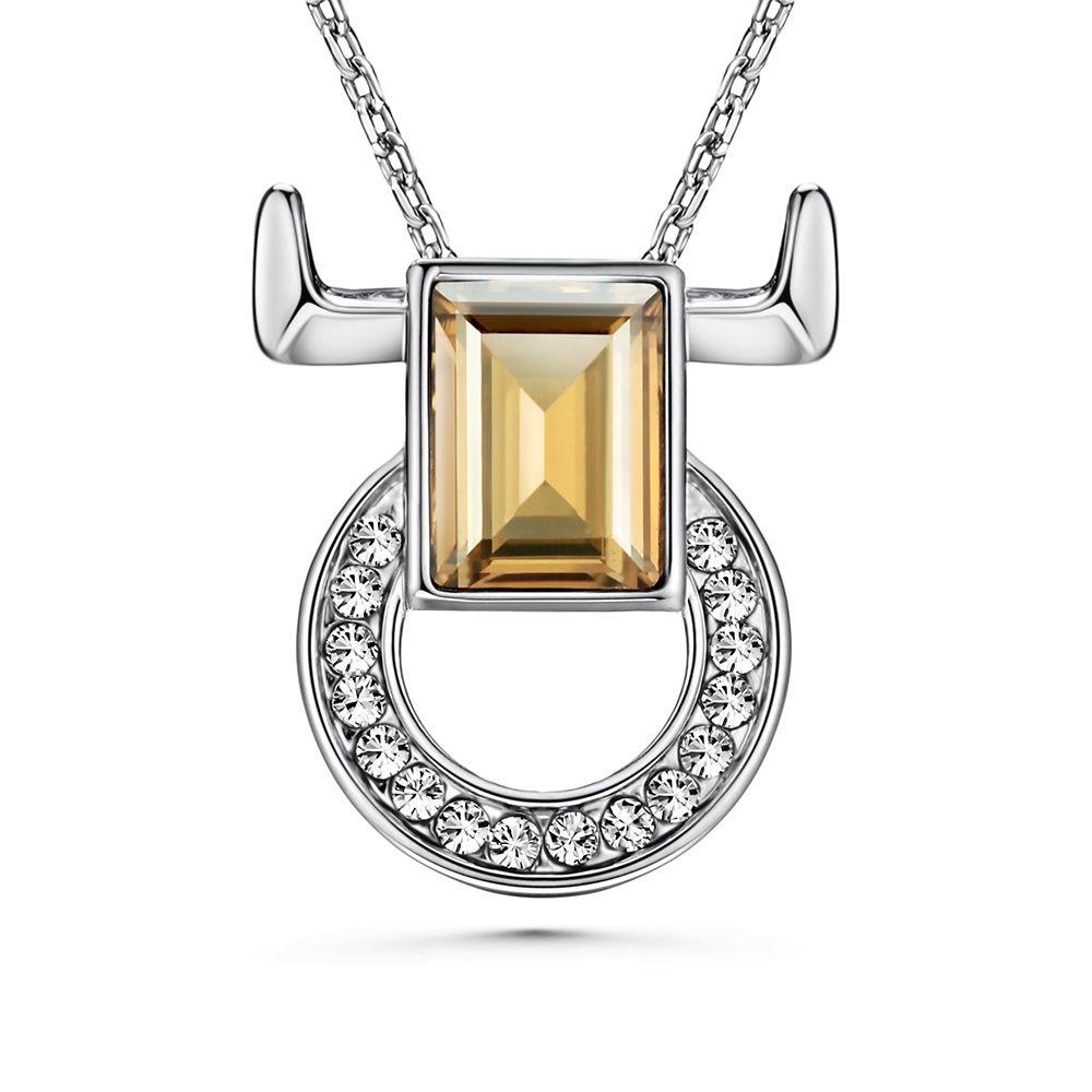 Swarovski - White and Champagne Swarovski Elements Crystal Taurus Pendant