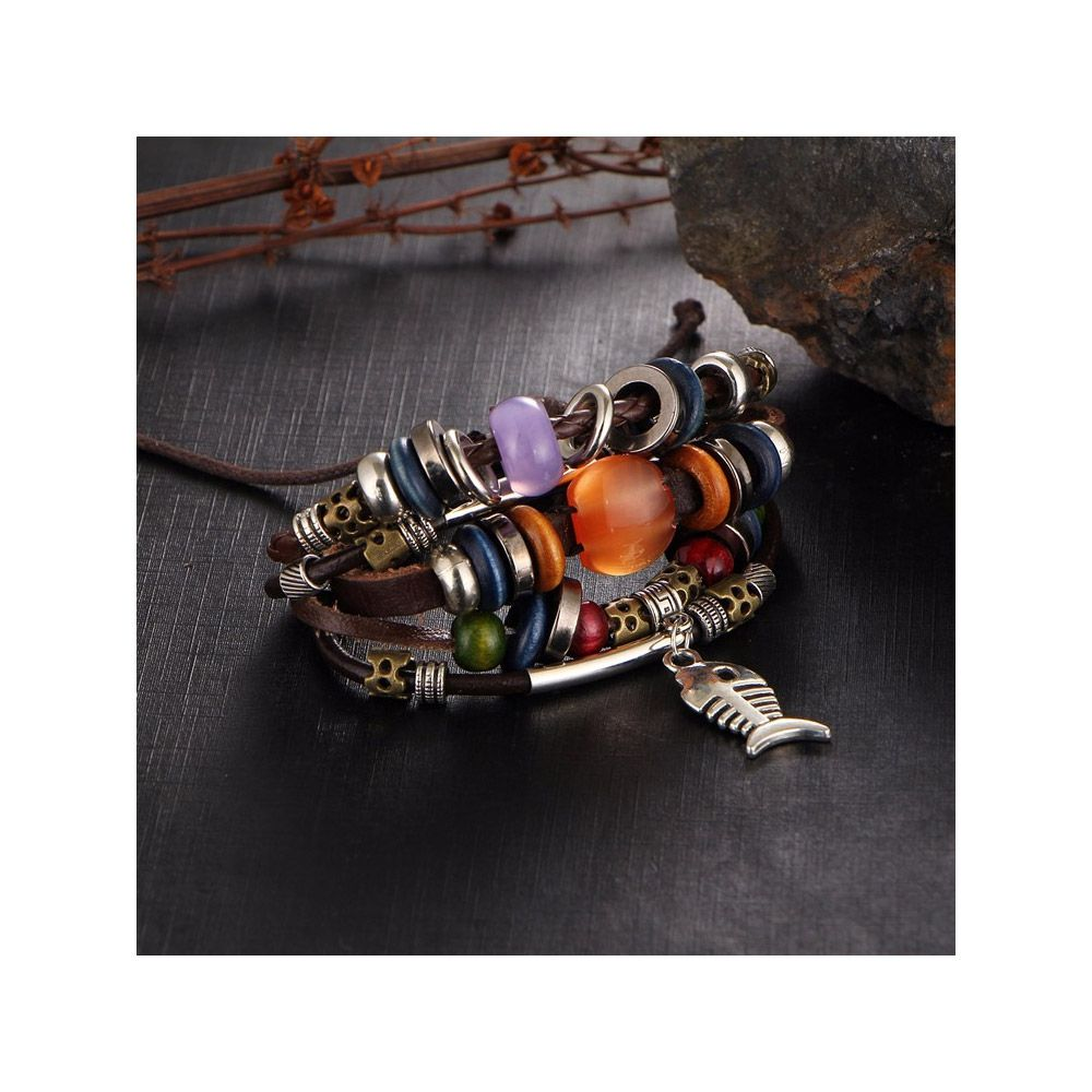 Brown Leather Multi Rows Beads, Fish and Stainless Steel Man Bracelet