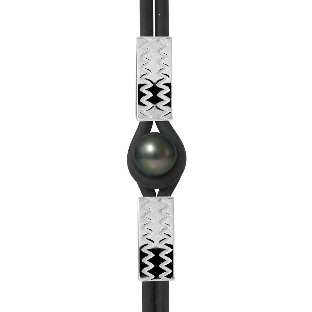 10 mm Black Tahitian Pearl, Black Neoprene Tribal Man-Woman Bracelet and 925 Sterling Silver