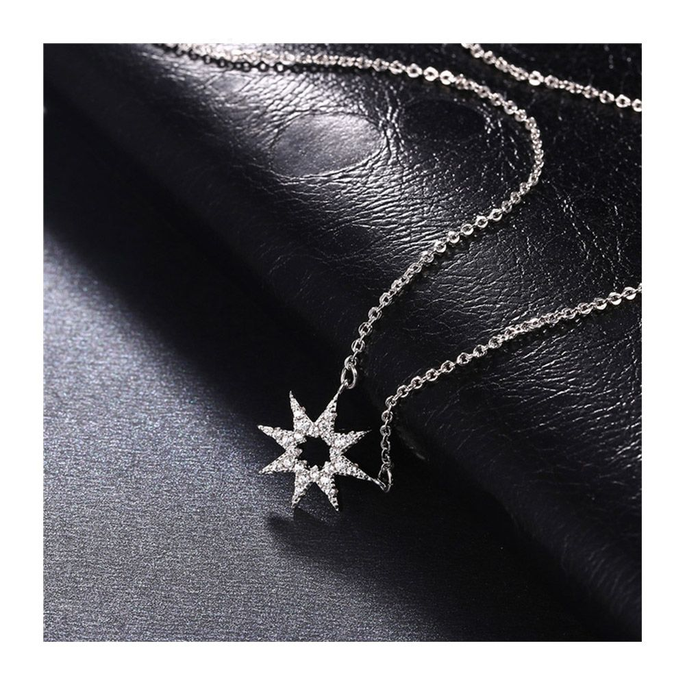 Set : Women's Necklace and Earrings in Silver Plated, Star in Cubic Zirconia White