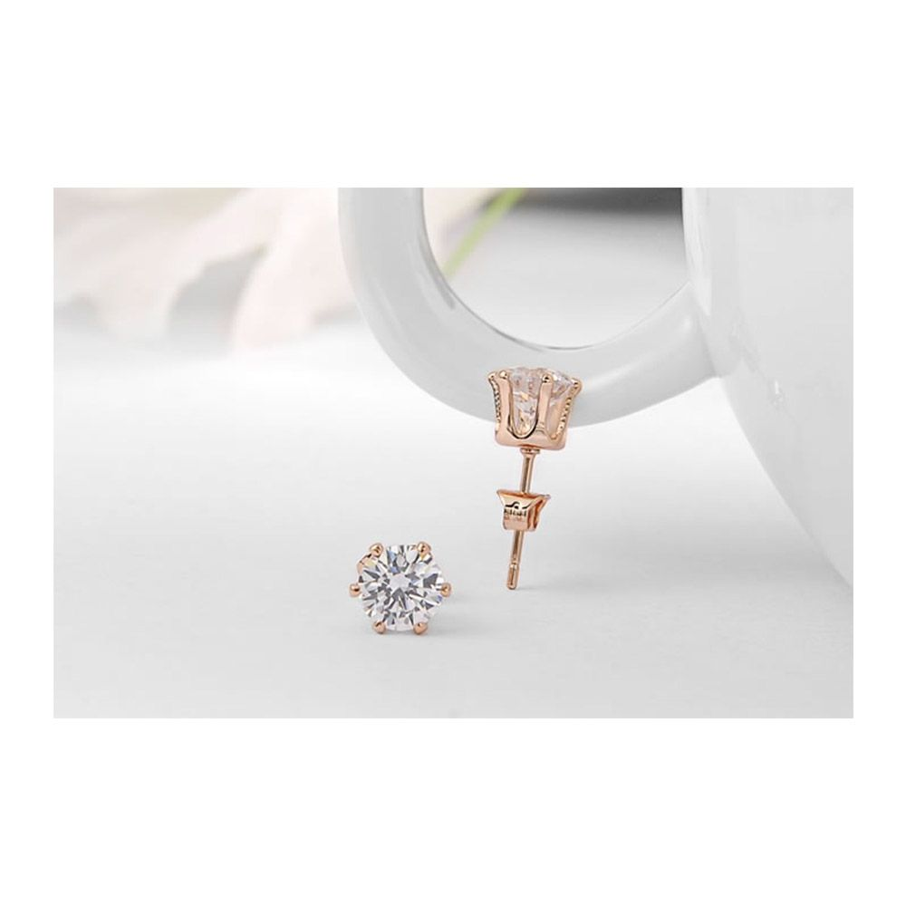 Earrings Women Pink Gold Rhodium Plated and Cubic Zirconia