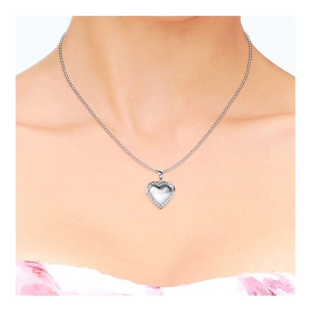 Swarovski - White Crystal From Swarovski Heart Women's Medaillon Pendant Rhodium Plated
