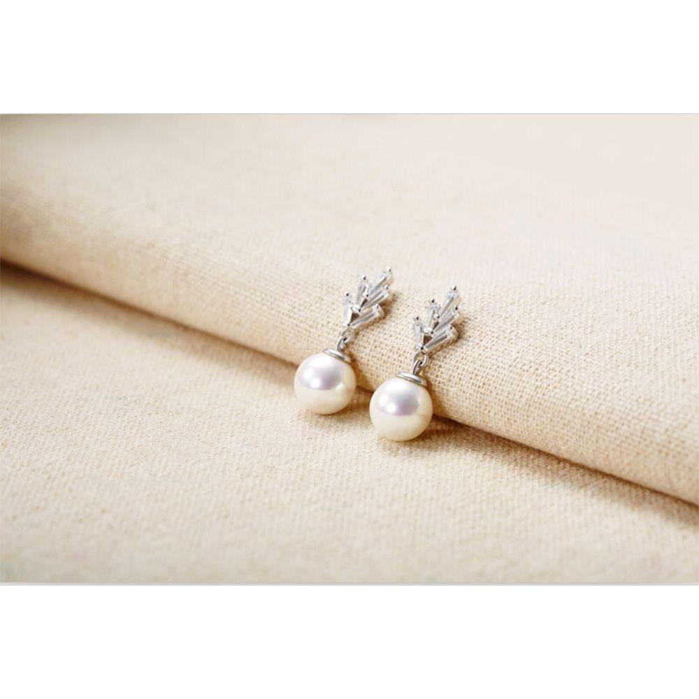 Earrings Dangling Wowen White Pearl and Cubic Zirconia