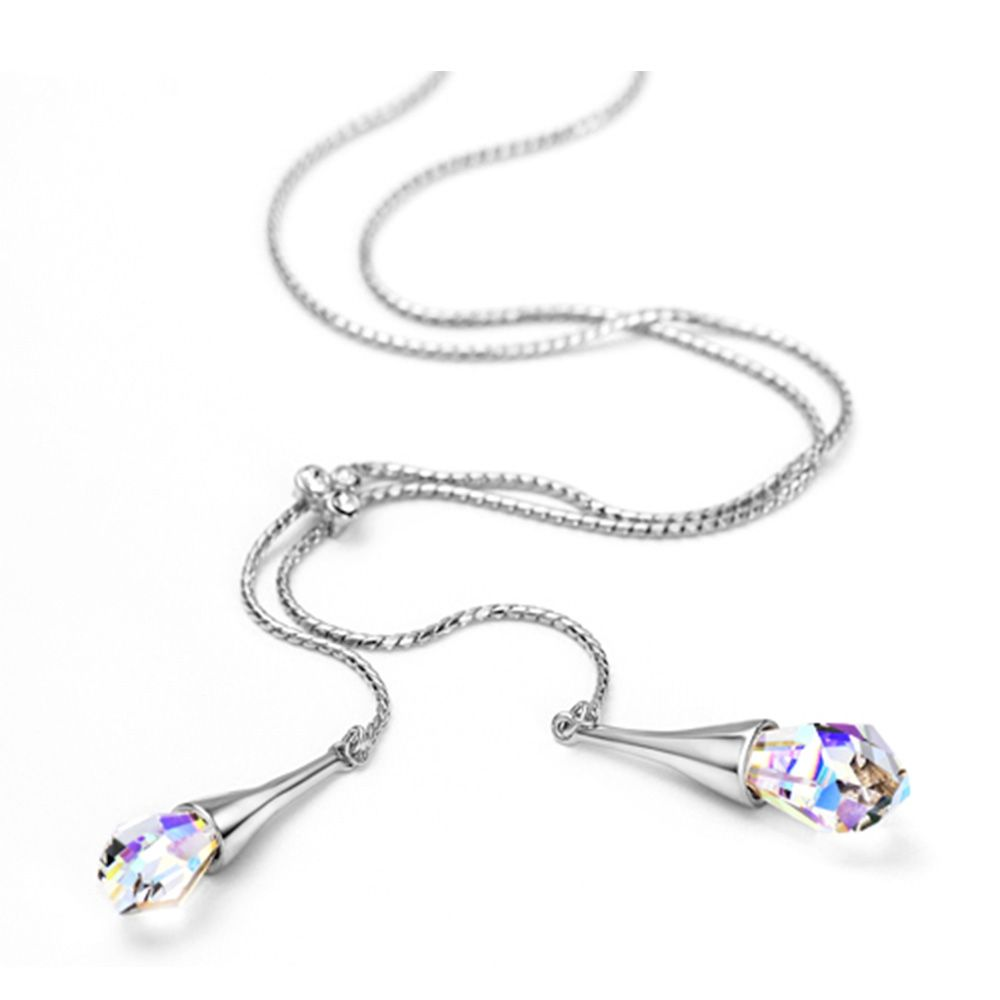 Swarovski - Necklace Woman White Swarovski Crystal Elements and Rhodium Plated