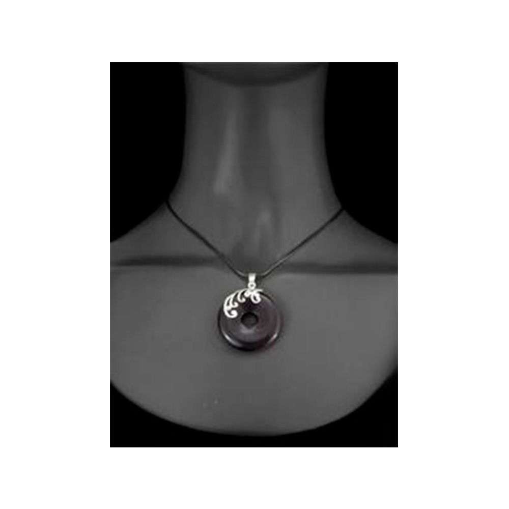 Round Pendant in Black Sandstone and 925 Silver