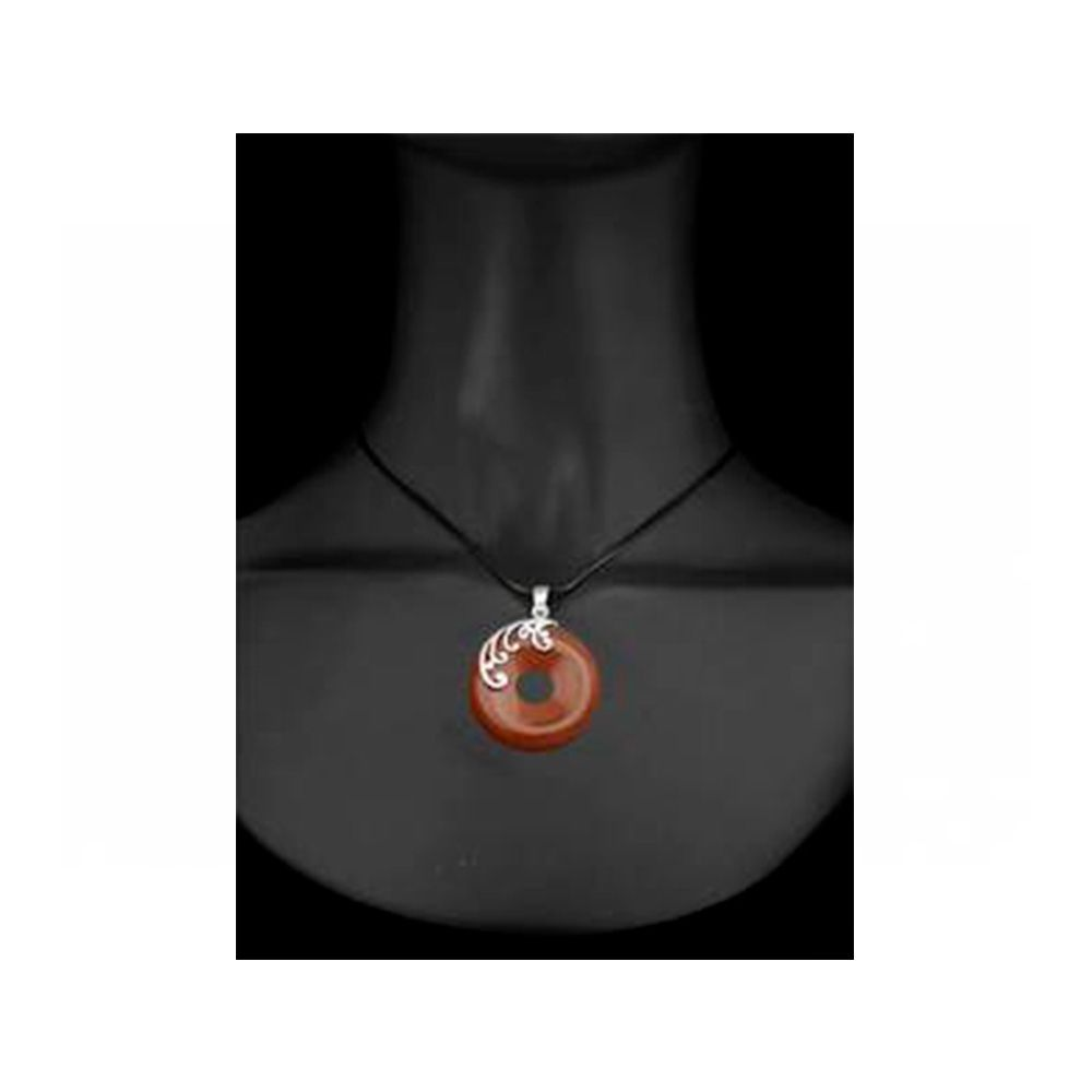 Round Pendant in Brown Sandstone and 925 Silver