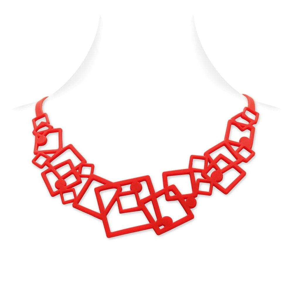 Red Silicone Gum Geometric Necklace Effect Tatto