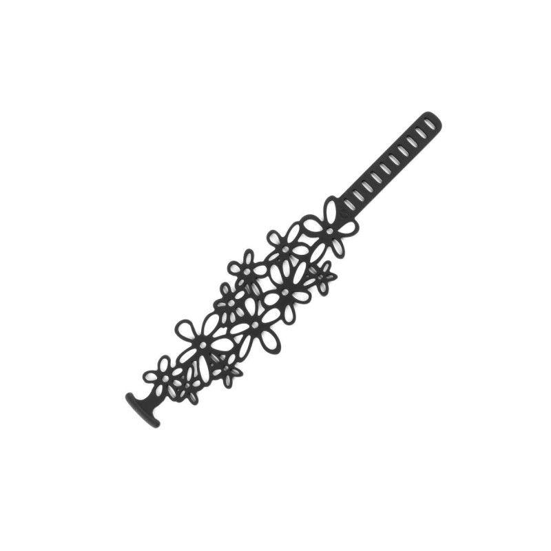 Tiare flower Child Black Silicone Gum Bracelet