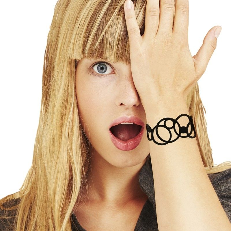Black Silicone Gum Disco Bracelet Effect Tatto