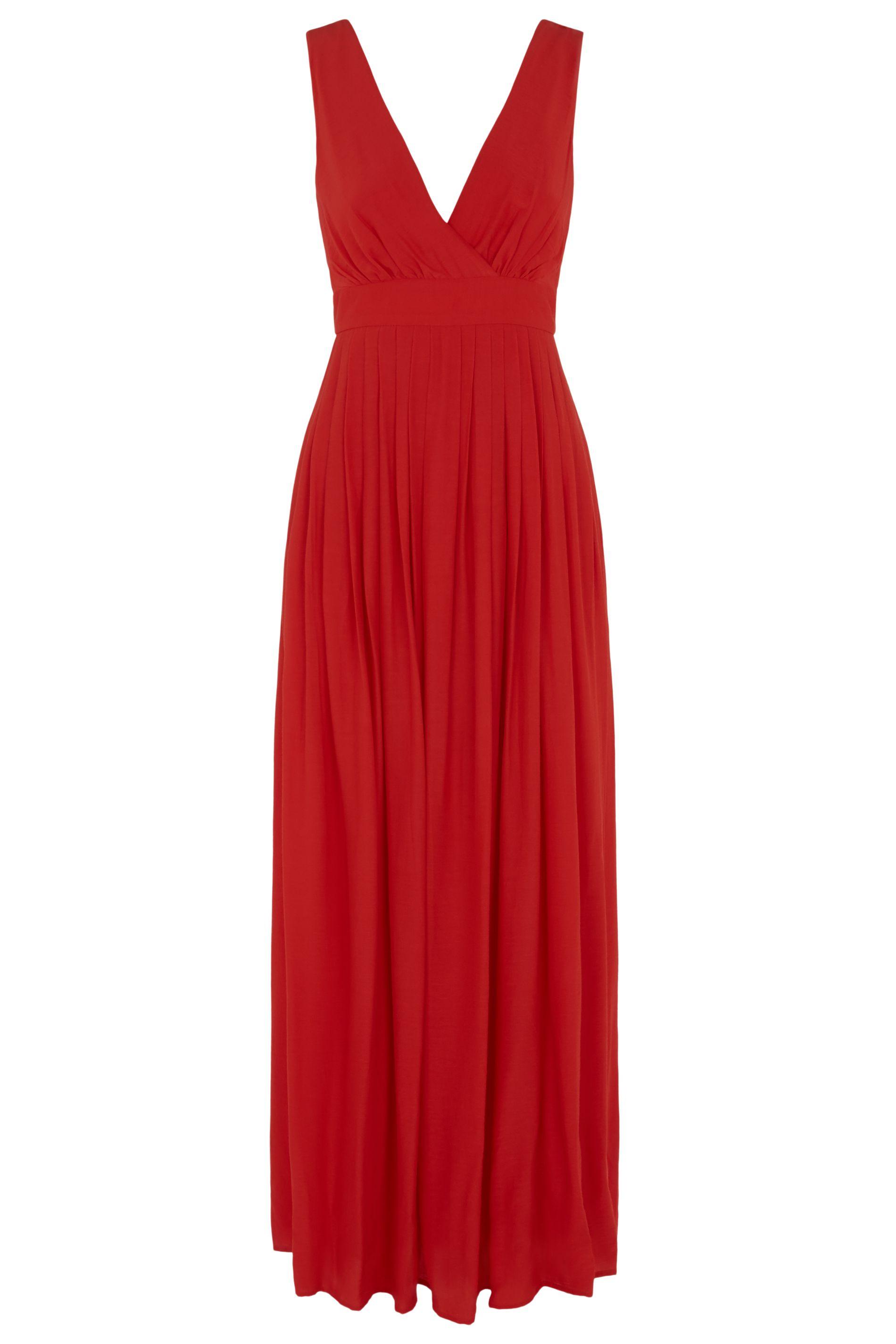 Fall V-neck Sleeveless Maxi Dress in Red