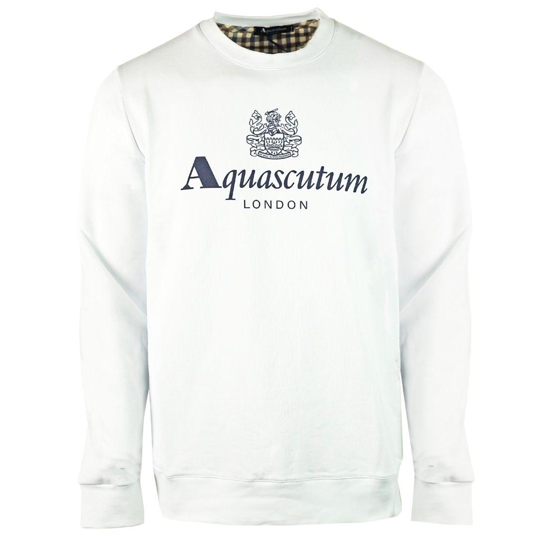 Aquascutum Waterfield Logo White Sweatshirt