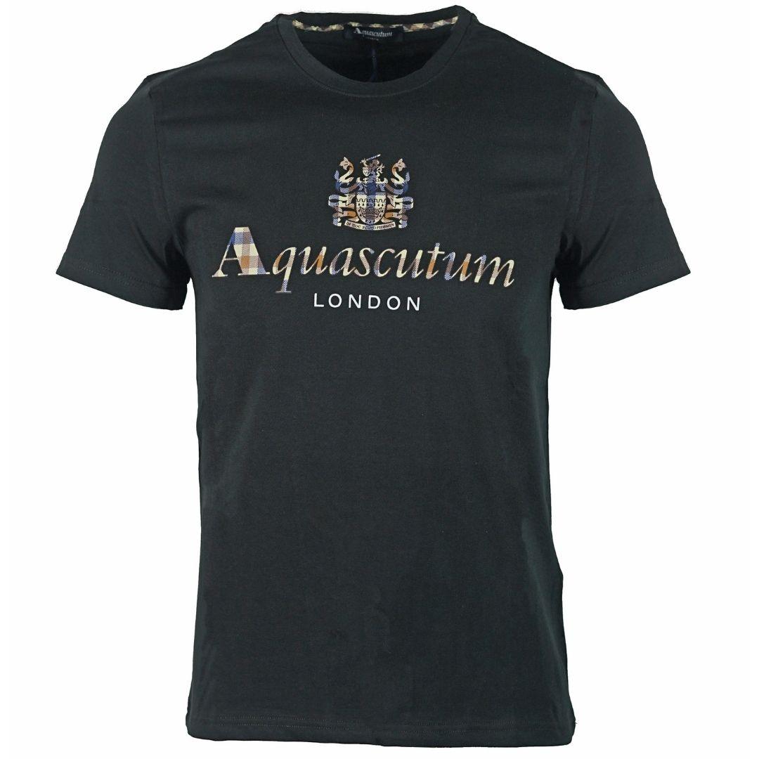 Aquascutum Signature Check Logo Black T-Shirt