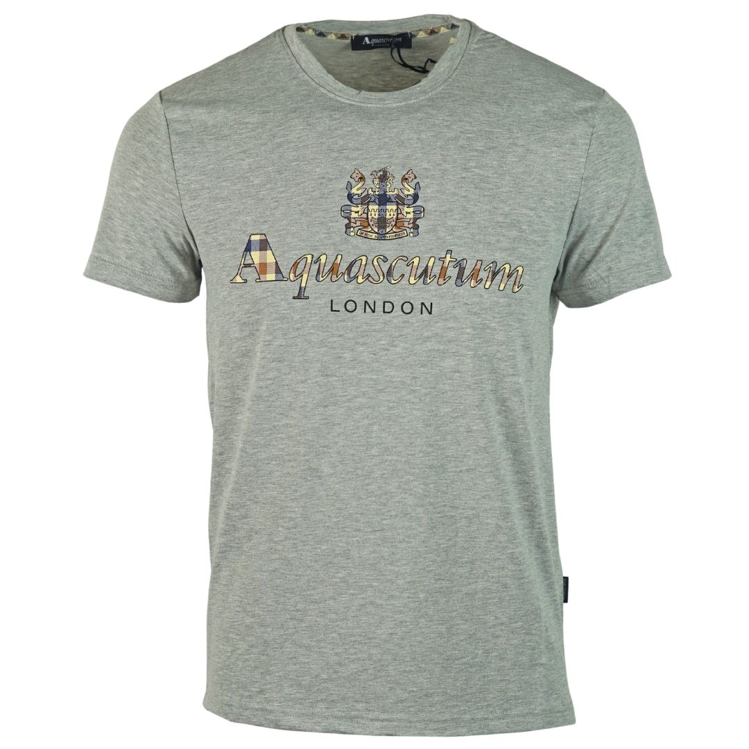 Aquascutum Signature Check Logo Grey T-Shirt