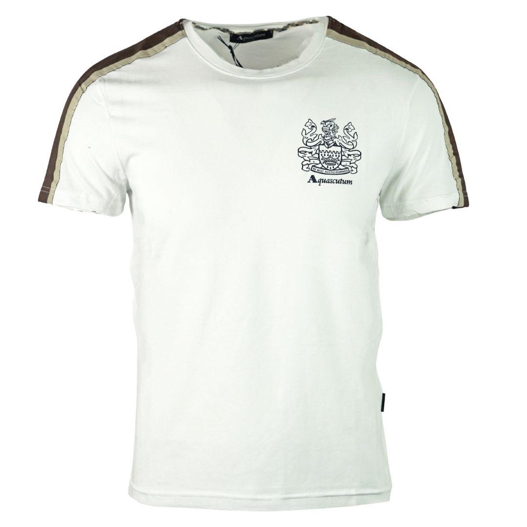 Aquascutum Shoulder Stripe White T-Shirt