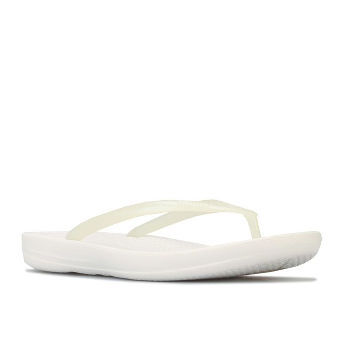 Women's Fit Flop Iqushion Pearlised Ergonomic Flip Flops in White