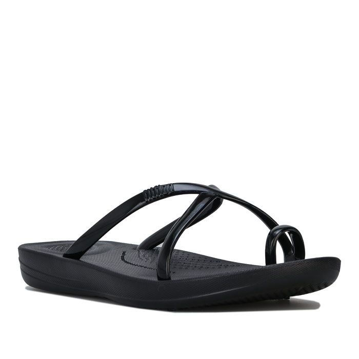 Women's Fit Flop iQushion Wave Pearlised Sandals in Black