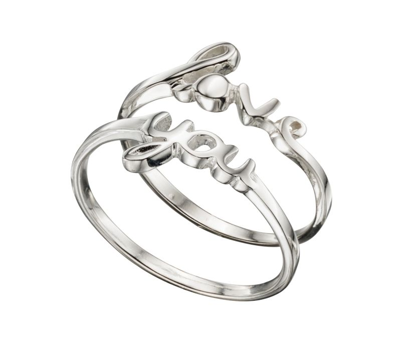 Elements Silver 'Love You' Ring