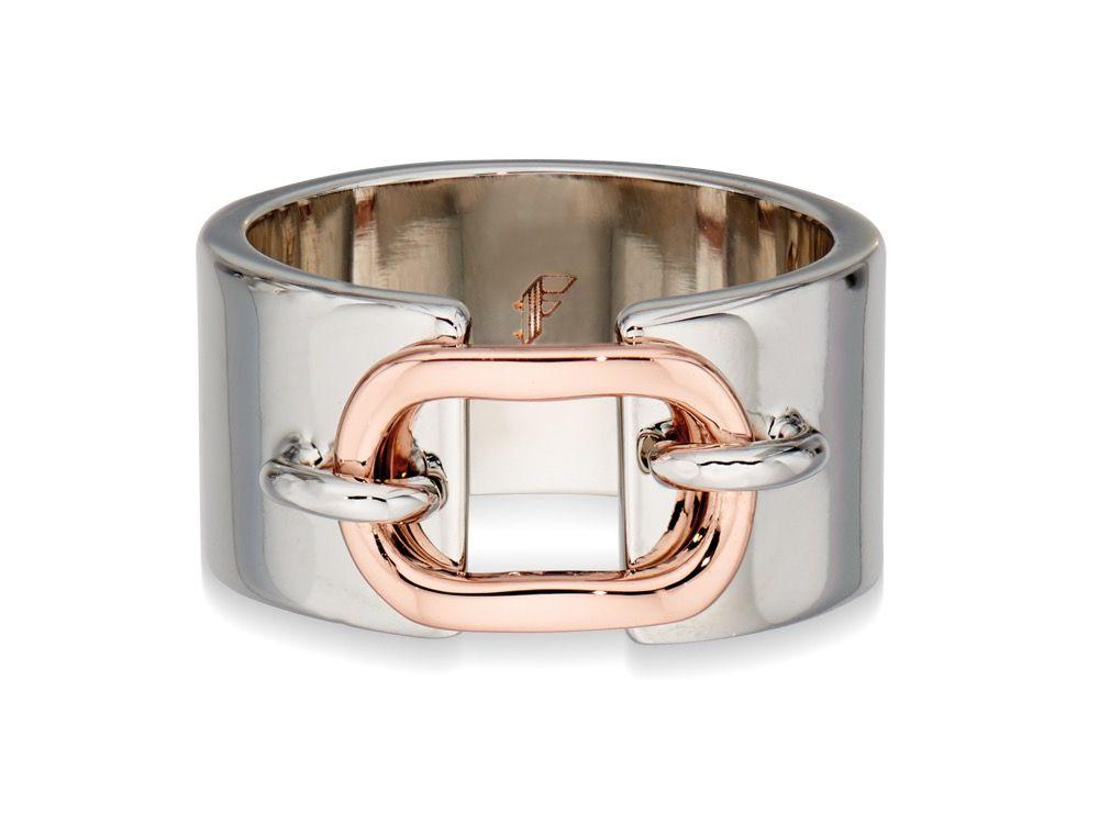 Fiorelli Fashion Rose Gold & Imitation Rhodium Plate Loop & Band Ring Size L
