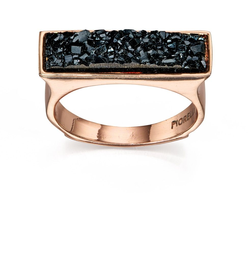 Fiorelli Fashion Rose Gold Plated Black Crystal Square Top Ring