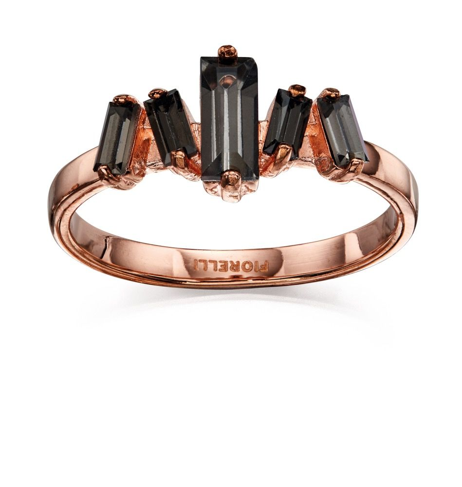 Fiorelli Fashion Rose Gold Plated Baguette Black Crystal Ring