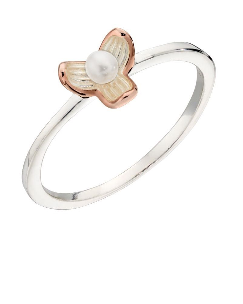 Elements Silver Womens 925 Sterling Silver & Rose Gold Plating Freshwater Pearl Flower Ring