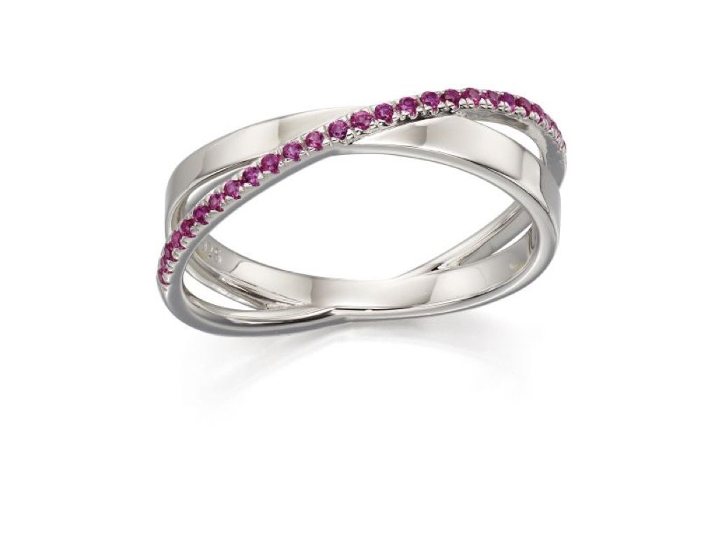 Fiorelli Silver Womens 925 Sterling Silver Pave Pink Cubic Zirconia Band Ring