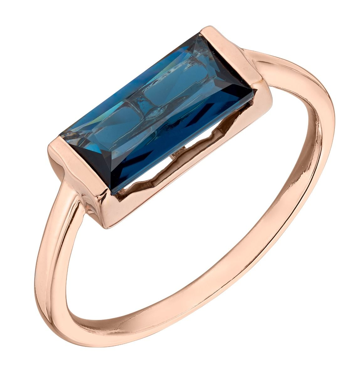 Fiorelli Silver Women's 925 Sterling Silver Baguette Blue Nano Crystal and Rose Gold Ring