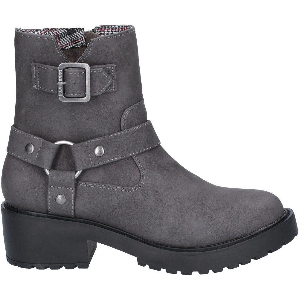 Rocket Dog Womens Pluto Buckled Zip Up Chunky Ankle Boots