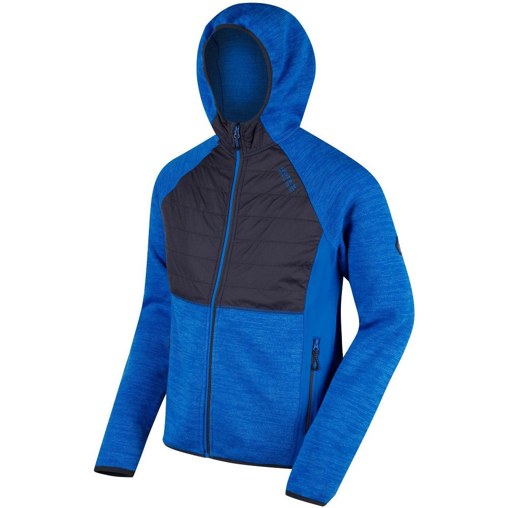 Regatta Mens Rocknell Panelled Hooded Stretchy Hybrid Fleece Jacket