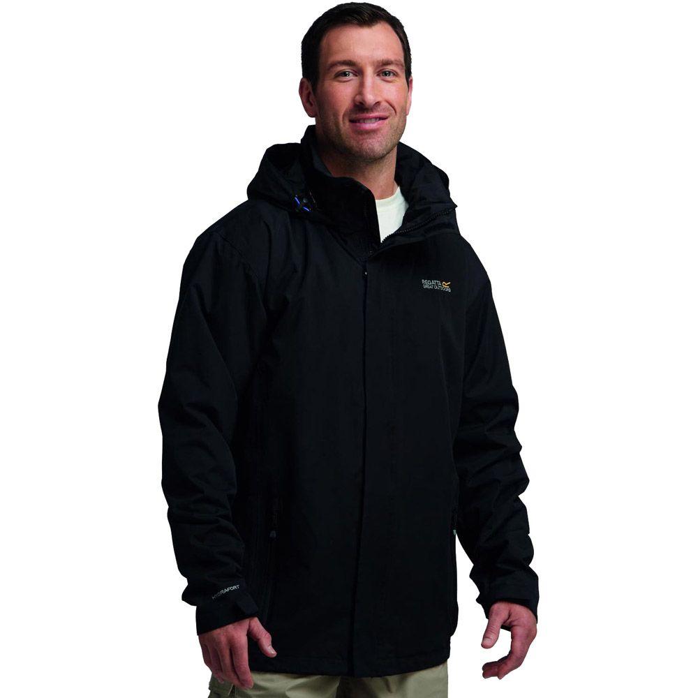 Regatta Mens Matt Waterproof Hooded Shell Jacket Black RMW201